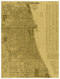 Antique Map of Chicago (neutral) Prints by  Blanchard