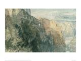 Burg Katz with View towards Burg Rheinfels, 1817 Giclee Print by J.M.W. Turner