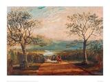 Coach on Road Through Dale, Moors Behind Giclee Print by J.M.W. Turner