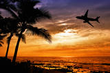 Sunset with Palm Tree and Airplane Silhouettes Fotografisk tryk af  krisrobin