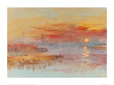 Sunset on Rouen Lámina giclée por J.M.W. Turner