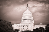 Capitol Building with Dramatic Cloudy Sky - Washington Dc, United States Print by  Orhan