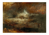 Stormy Sea with Blazing Wreck Giclee Print by J.M.W. Turner