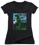 Juniors: Edward Scissorhands - Edward Was Here V-Neck T-Shirt