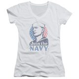 Juniors: Navy - Join Now V-Neck T-shirts