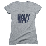 Juniors: Navy - Sister V-Neck T-Shirt