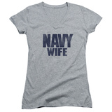 Juniors: Navy - Wife V-Neck Shirts