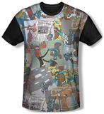 Rocky & Bullwinkle - Collage (black back) T-shirts