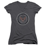 Juniors: Navy - Rough Emblem V-Neck T-shirts