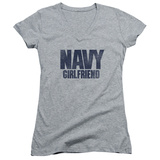 Juniors: Navy - Girlfriend V-Neck T-shirts