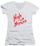 Juniors: Revenge Of The Nerds - High On Stress V-Neck T-shirts