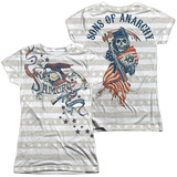 Juniors: Sons Of Anarchy - Crow And Stars (Front - Back Print) (Front/Back Print) T-shirts