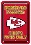 NFL Kansas City Chiefs Plastic Parking Sign - Reserved Parking Wall Sign
