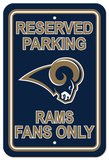 NFL St. Louis Rams Plastic Parking Sign - Reserved Parking Wall Sign
