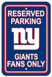 NFL New York Giants Plastic Parking Sign - Reserved Parking Wall Sign