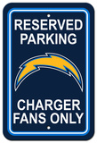 NFL San Diego Chargers Plastic Parking Sign - Reserved Parking Wall Sign