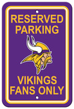 NFL Minnesota Vikings Plastic Parking Sign - Reserved Parking Wall Sign