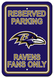 NFL Baltimore Ravens Plastic Parking Sign - Reserved Parking Wall Sign