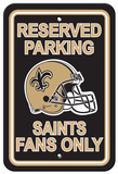 NFL New Orleans Saints Plastic Parking Sign - Reserved Parking Wall Sign