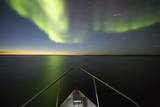 Northern Lights above Expedition Boat, Nunavut, Canada Photographic Print by Paul Souders
