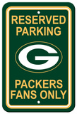 NFL Green Bay Packers Plastic Parking Sign - Reserved Parking Wall Sign