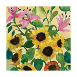 Sunflowers and Pink Lilies Giclee Print by Kim Parker