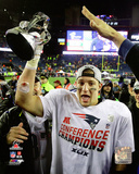 Rob Gronkowski with the AFC Championship Trophy 2014 AFC Championship Game Photo