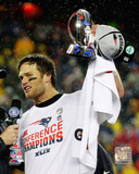 Tom Brady with the AFC Championship Trophy 2014 AFC Championship Game Photo