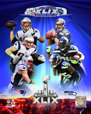 Super Bowl XLIX Seattle Seahawks Vs. New England Patriots Match Up Composite Photo