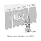 """Maybe it means something different in Dolphin?"" - New Yorker Cartoon Premium Giclee Print by Farley Katz"