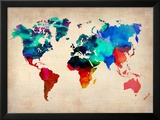 World Watercolor Map 1 Posters af  NaxArt