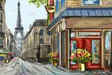 Street in Paris - Illustration Lámina fotográfica por  ZoomTeam