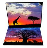 Giraffe Silhouetted at Sunrise, Masai Mara Reserve & African Baobab Tree, Tarangire Nat'l Park Set - Reprodüksiyon