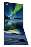Aurora Borealis over Sandvannet Lake & Over Mikkelfjellet Mountain in Troms County, Norway Set - Poster