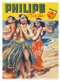 Hawaiian Hula Dancers - Philips Radio Plakater