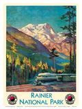 Mount Rainier National Park - Stampede Pass, Washington USA - Northern Pacific Railway Affiches par Gustav Wilhelm Krollmann