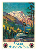 Mount Rainier National Park - Stampede Pass, Washington USA - Northern Pacific Railway Prints by Gustav Wilhelm Krollmann