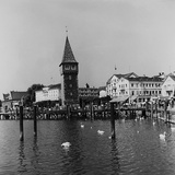 View of the Wharf in Lindau, on Lake Constance (Bodensee) with the Old 12th Century Lighthouse Photographic Print by Pietro Ronchetti