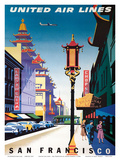 San Francisco, USA - China Town - United Air Lines Prints by Joseph Binder