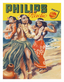 Hawaiian Hula Dancers - Philips Radio Giclée-tryk