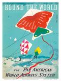 Round the World - Kites - via Pan American World Airways Kunstdrucke von Dong Kingman