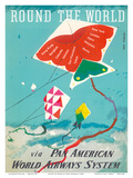 Round the World - Kites - via Pan American World Airways Poster by Dong Kingman