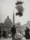 Sale of Balloons in Front of St. Peter's Basilica at the Vatican Photographic Print by Luigi Leoni