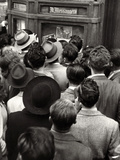 Crowd Gathered around a Bulletin Board with Pictures of Enforcement of the Duce Benito Mussolini Photographic Print by Luigi Leoni