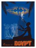 Romance in Egypt - Love on the Nile River - Ancient Egyptian Harp Player, Dancing Girls Prints by M. Azmy