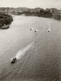 Race Boats on the Tiber in Rome Photographic Print by Luigi Leoni