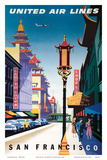 San Francisco, USA - China Town - United Air Lines Posters by Joseph Binder