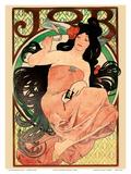 Alphonse Mucha - Job - Cigarette Rolling Papers Advertisement - Art Nouveau Reprodukce