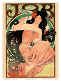 Job - Cigarette Rolling Papers Advertisement - Art Nouveau Art by Alphonse Mucha