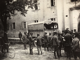 Small Truck with Wounded People at the Entrance of the Hospital of Gorizia Photographic Print